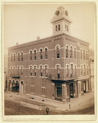 Deadwood, South Dakota - City Hall in 1890, photograph by John C. H. Grabill