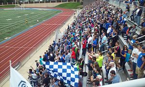 Grand Rapids FC - The south side of Houseman Field, with members of the Grand Army supporters group in the foreground. Attendance 3,843.