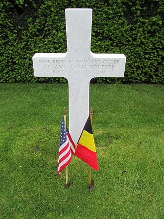 Flanders Field American Cemetery and Memorial - Image: Grave marker cross at Flanders Field American Cemetery and Memorial