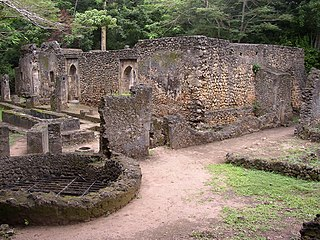 Ruins of Gedi archaeological site in Kenya