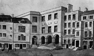Great Synagogue of London - Wash drawing of the Synagogue from Duke's Place, c. 1820