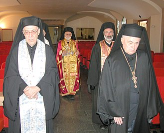 Archimandrite - Melkite Patriarch Gregory III (centre of picture) with some archimandrites, visiting the sanctuary of Our Lady of Caravaggio, Italy, on 11 September 2008