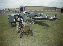 A Fleet Air Arm Supermarine Seafire being refuelled by a petrol bowser at Yeovilton in September 1943.