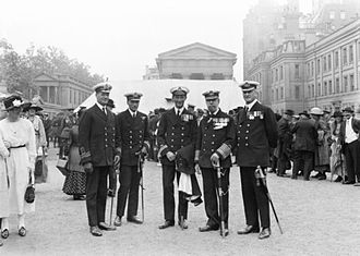 Augustus Agar - A group of Naval VC's at a party given for holders of the Victoria Cross by King George V at Wellington Barracks. Gordon Charles Steele is second from the left and Augustus Agar is in the centre.