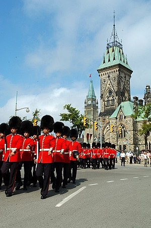 Household Division - Members of the Canadian Grenadier Guards on parade in Ottawa. The Grenadier Guards are one of two Foot Guards in the Canadian Army.