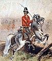 Guerra de la Triple Alianza - Soldado de caballería paraguaya con traje especial, Acuarela de J.I Garmendia.jpg