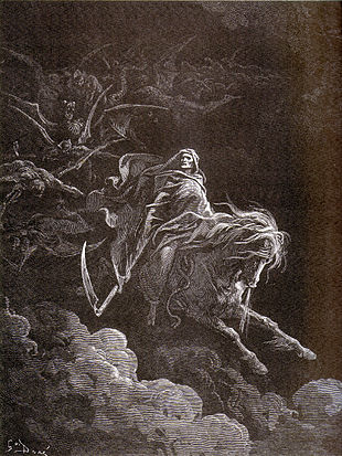 La Morte su un Cavallo Bianco in un'incisione di Gustave Doré