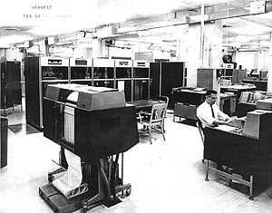 IBM 1403 - An IBM 1403, foreground, part of an IBM 7030 Harvest installation at the U.S. National Security Agency