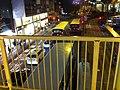 HK CWB Causeway Road night 信德街 Shelter Street concrete covered footbridge Nov-2013 view traffic.JPG