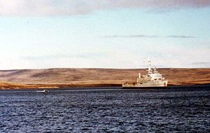 HMS Fearless (L10) - Fearless in San Carlos, during the Falklands War