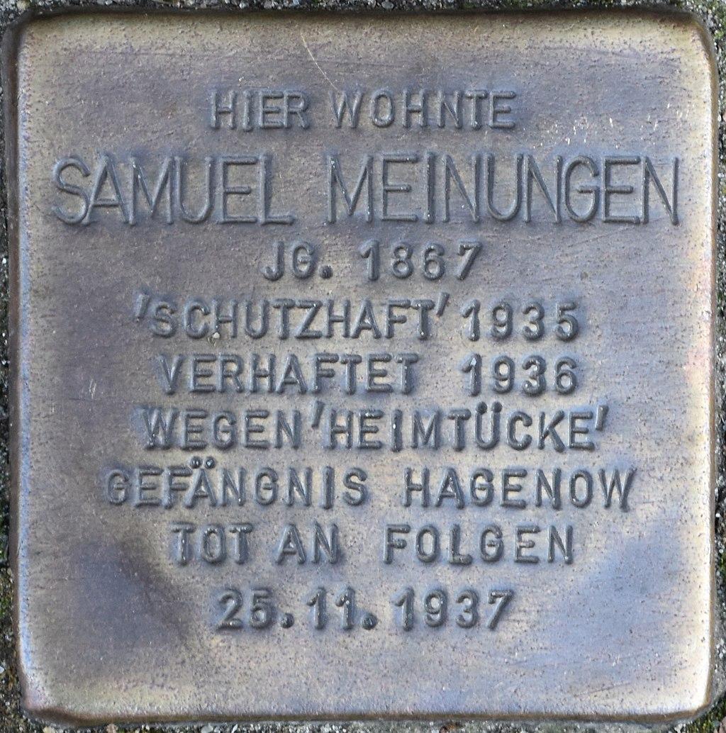Hagenow Stolperstein Lange Straße 108 Meinungen, Samuel