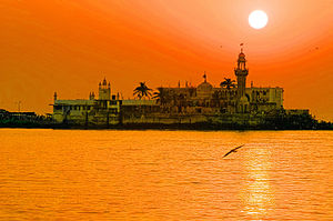 The Haji Ali Dargah, in the Mahim Bay can be r...