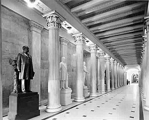 Hall of Columns - Older image of Hall of Columns facing north.