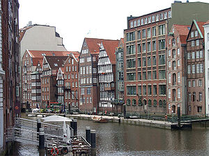 Deichstraße - Canal-side view of houses in Deichstraße.