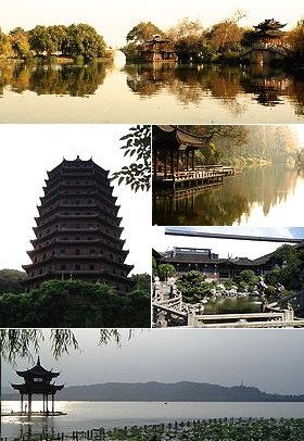 "Top: View of the ""Three Ponds Mirroring the Moon"" at West Lake, Middle left: Liuhe Pagoda, Middle upper right: Su Causeway at West Lake, Middle lower right: Hu Xueyan Residence Garden, Bottom: Huxin Pavilion on West Lake"