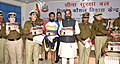 Hansraj Gangaram Ahir releasing a booklet after the inauguration of the Divyang Skill Development Centre during the 51st Raising Day of BSF, during the 51st Raising Day of BSF, in New Delhi.jpg