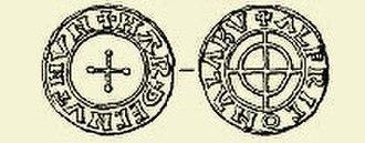 Aalborg - Hardeknud coin embossed Alabu (c. 1040), the original name of Aalborg