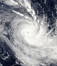 Satellite image of Harold with a visible eye and sprawling rainbands