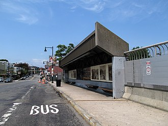 Roxbury Crossing station - Shelter for Harvard-bound route 66 buses on the north side of Tremont Street