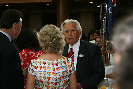 Hawke at Parliament House for the national apology to the Stolen Generations in 2008 HawkeSorry.jpg