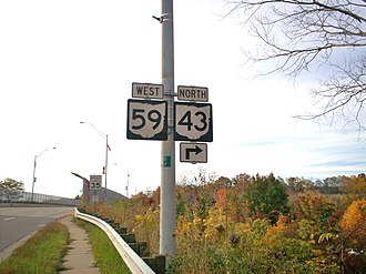 Ohio State Route 43 - State Routes 59 and 43 cosigned in Kent