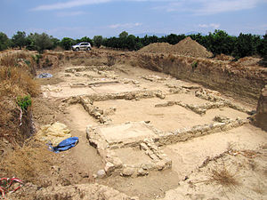 Helike - Excavations at the site of Helike.  In this case, a Hellenistic-era building; possibly used as a dye-works