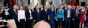 Social Democrats (Denmark) - Cabinet of Helle Thorning-Schmidt in front of Amalienborg in 2011.