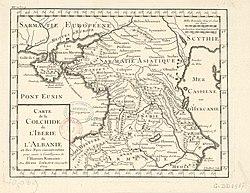 מפה מהמאה ה-18 המתארת את אזור הקווקז בעת העתיקה