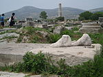 Heraion antika fötter, Samos, Grekland