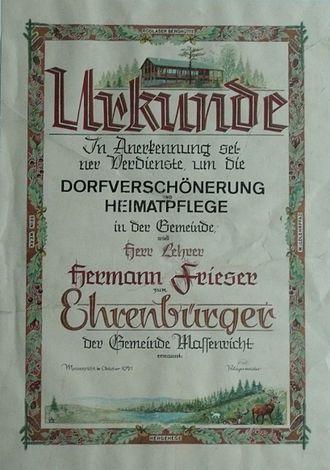 Honorary citizenship - Image: Hermann Frieser Ehrenbürgerurkunde