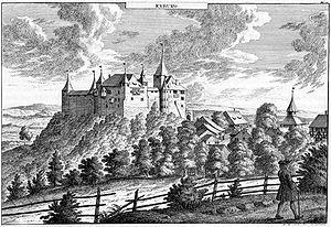 Kyburg (castle) - Image: Herrliberger Kyburg 1740
