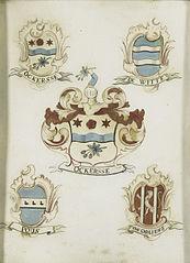 Het wapen van een vrouwelijk lid van de familie Ockersse, gehuwd met van Gelre en moeder van Anna Digna van Gelre, met de wapens van haar vier grootouders