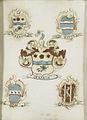 Het wapen van een vrouwelijk lid van de familie Ockersse, gehuwd met van Gelre en moeder van Anna Digna van Gelre, met de wapens van haar vier grootouders Rijksmuseum SK-A-932.jpeg