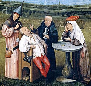 Trepanning - Detail from The Extraction of the Stone of Madness, a painting by Hieronymus Bosch depicting trepanation (c.1488–1516).