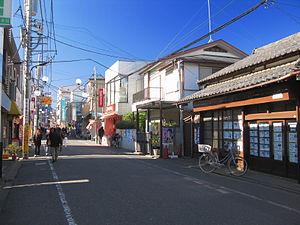 Akitsu Station (Tokyo) - The shopping street in Higashimurayama, Tokyo, leading from Akitsu Station on the Seibu Ikebukuro Line to Shin-Akitsu Station on the JR Musashino Line, January 2013