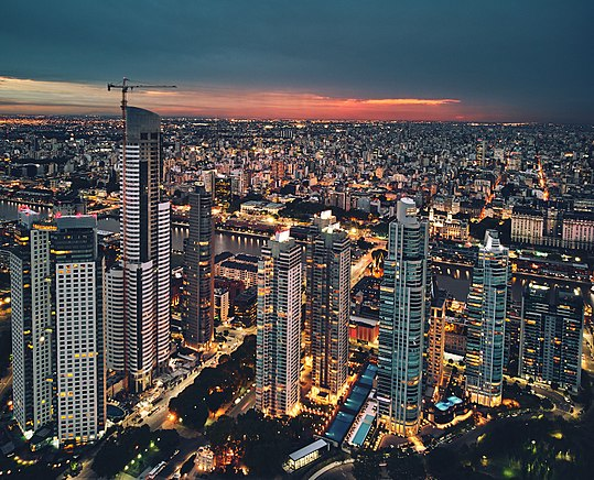 Puerto Madero currently represents the largest urban renewal project in the city of Buenos Aires. Having undergone an impressive revival in merely a decade, it is one of the most successful recent waterfront renewal projects in the world. High-rises of Puerto Madero (40022145164).jpg