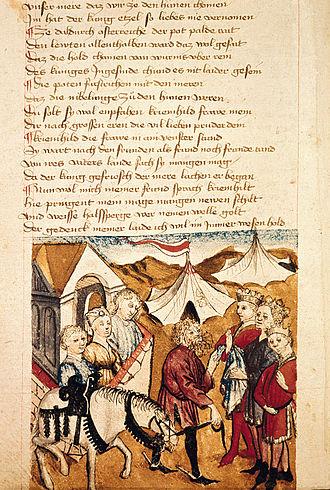 Hildebrand - Image: Hildebrand warnt die Burgunder an der Mauer warten Kriemhild Dietrich Hundeshagenscher Kodex