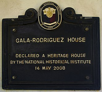 Gala–Rodriguez Ancestral House - Historical Marker Gala–Rodriguez House given by the National Historical Institute, May 14, 2008