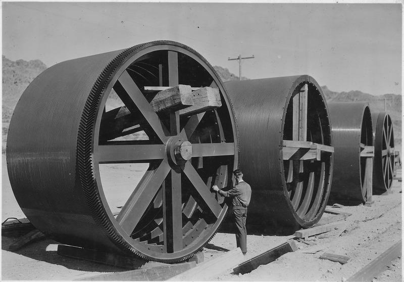 File:Hoisting drums for permanent 150-ton cableway in storage at Boulder City yards - NARA - 293820.tiff
