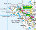 Holy Island, Anglesey 1-250,000 OS map 2010.png