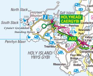 Holy Island, Anglesey - Ordnance Survey map of Holy Island, 2010