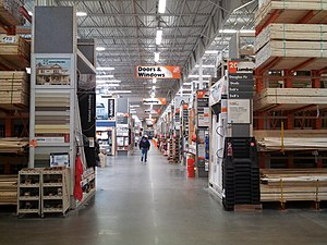 The Home Depot - Center aisle of a Home Depot store in 2014.
