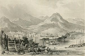 Battle of Kowloon - View of Hong Kong Island from Kowloon, c. 1841