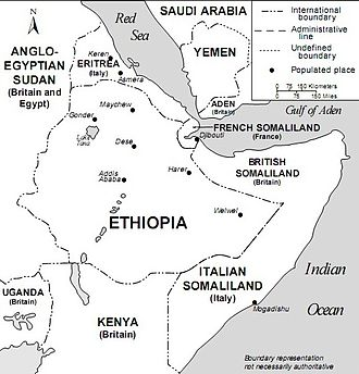 March of the Iron Will - The Horn of Africa and southwest Arabia – Mid-1930s.  The March of the Iron Will was between Dessie and Addis Ababa.  At the same time, General Rodolfo Graziani was advancing from the south towards Harar.  Emperor Haile Selassie travelled from Addis Ababa, to Harar to Djibouti in French Somaliland to go into exile.