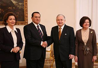Suzanne Mubarak - First Lady Suzanne Mubarak (left), with President Hosni Mubarak and Polish President Lech Kaczynski and his wife, Maria Kaczyńska, in 2008