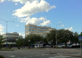 Ljungby - After the fire of 1953 many of the buildings was rebuilt in a then modern style, which today is still considered controversial. The picture shows Hotell Terraza with its international style.