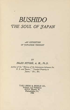 Nitobe Inazō - Title page of Bushido: The Soul of Japan (1900)