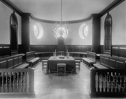 House of Burgesses in Williamsburg, Virginia, where Jefferson served 1769-1775 House of Burgesses in the Capitol Williamsburg James City County Virginia by Frances Benjamin Johnston.jpg