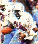 A picture of Earl Campbell rushing the ball.