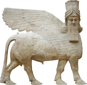 Paul-Émile Botta - Lamassu. Bas-relief from the m wall, k door, of king Sargon II's palace at Dur-Sharrukin in Assyria (now Khorsabad in Iraq), c. 713–716 BC. (From Botta's excavations in 1843–1844).